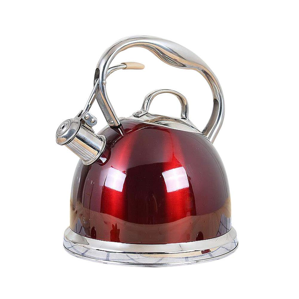 Red European Style Kettle Works on Gas, Electric, Induction Stovetop for Fast Boling Water Tea or Coffee Pot Heating 304 Stainless Steel Teakettle Remeehi