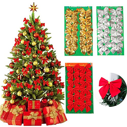 (MCpinky 36 PCS Gold Silver Red Tree Bows Mini Christmas Ribbon Bows for Christmas Tree Presents Decorations Charms Ornaments)