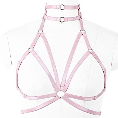 73fc7b7ad1 PETMHS Women Body Harness Elastic Strappy Plus Size Sexy Lingerie Goth Cage  Bra  Amazon.co.uk  Clothing