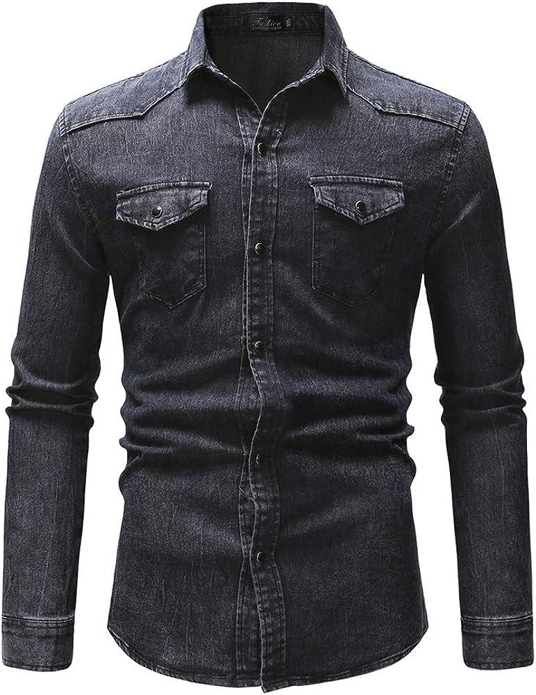 Hombre Camisa Jeans con Bolsillo Talla Grande Lavado Camisa Vaquera Hombres Casual Manga Larga Blusas Camisas (Dark Gray, M): Amazon.es: Ropa y accesorios