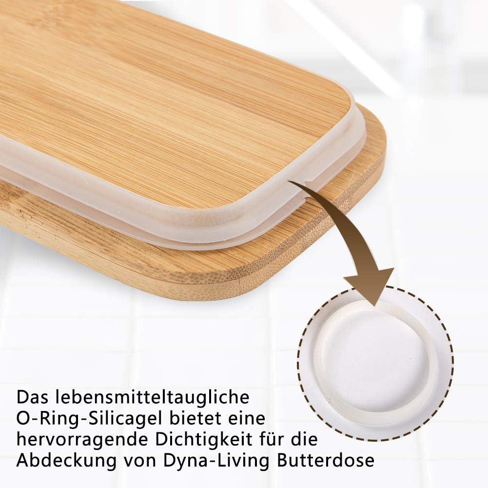 Mantequera de porcelana con cuchillo y tapa de madera para 250 g color blanco Dyna-Living 16,5 x 10 x 7,5 cm