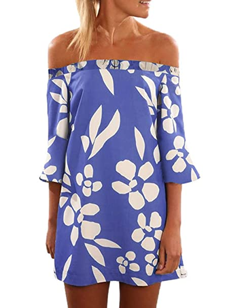 Asvivid Womens Summer Off The Shoulder Half Bell Sleeve Boho Floral Print Loose Mini Dress Plus Size 1X Blue