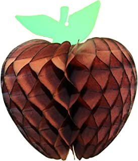 product image for 3-Pack 7 Inch Honeycomb Paper Apple Decoration, Brown