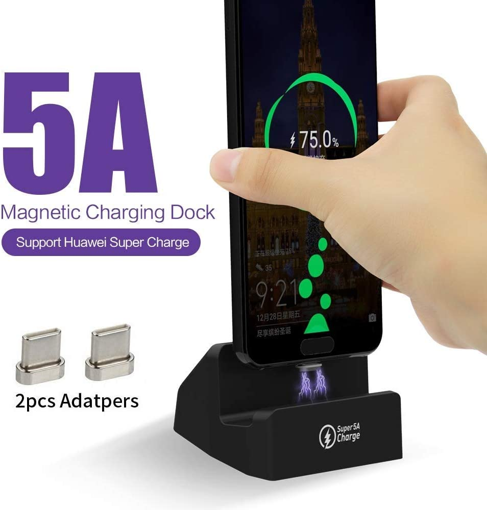 SIKAI 5A Supercharge USB C Magnetic Desktop Charger Stand Compatible with Huawei P20, P20Pro, Huawei Mate 10, Mate 10Pro, Huawei Mate 20, Mate 20X, Mate 9, Mate 9Pro, Huawei P10, P10Plus (Black)