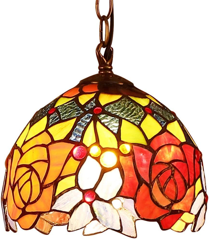 Bieye L10127 Rose Tiffany Style Stained Glass Ceiling Pendant Light Fixture with 7-inch Wide Lampshade