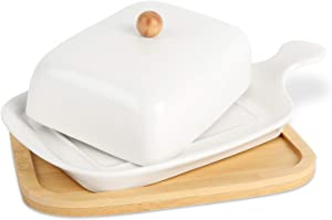 Ceramic Butter Dish With Bamboo Tray, Butter Dishes with Covers, Farmhouse Butter Dish With Handle Cover Design, Butter Container Perfect For East West Coast Butter, White.