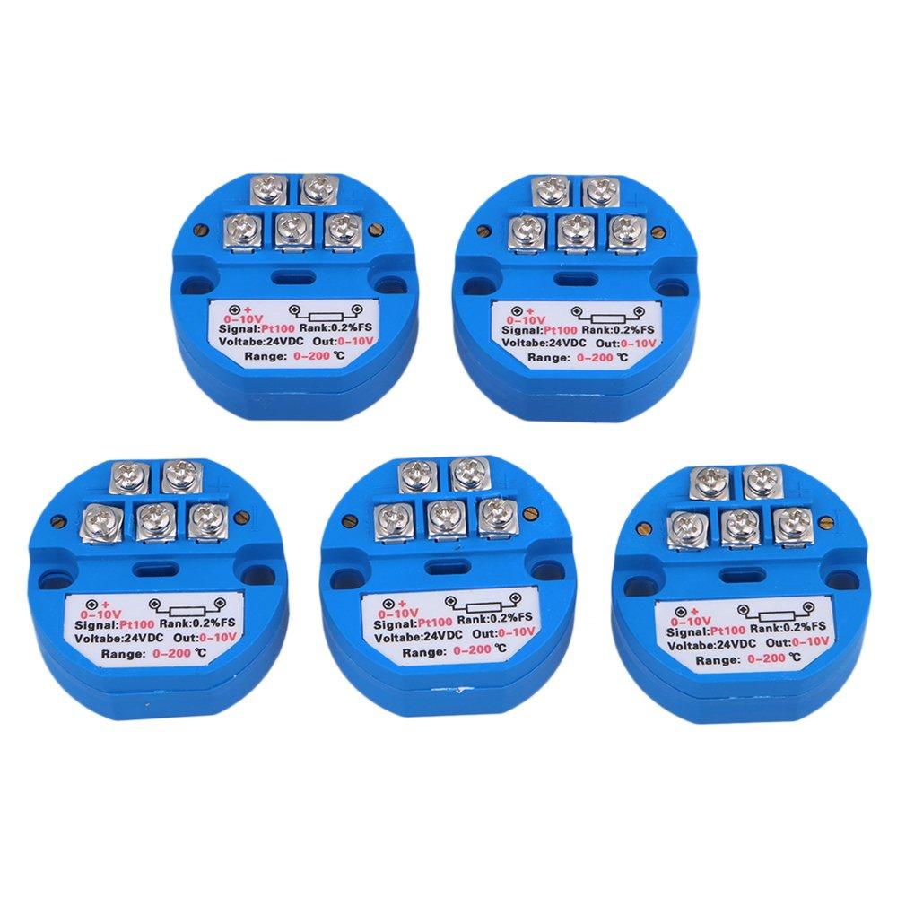 Mxfans 5pcs 4.5cm PT100 DC24V Temperature Sensor Transmitter 0-10V Output 0-200C