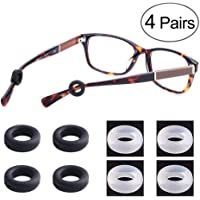 LUFF 4 Pairs Eyeglass Temple Tips Sleeves Retainer, Soft Silicone Anti-Slip Holder for Eyewear, Elastic Comfort Sunglasses Reading Glasses Ear Pads/Hook (Round)