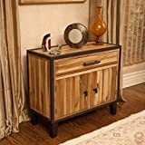 NEW Sturdy iron frame Rustic Industrial Design Solid Wood Storage Cabinet w/ Drawer