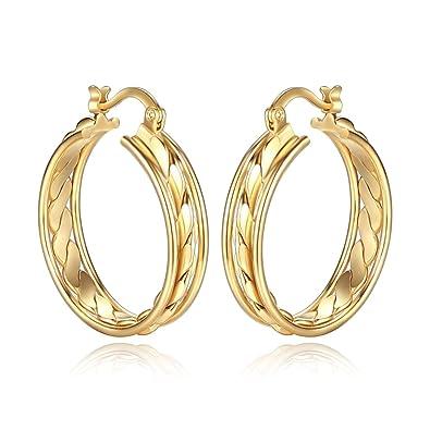 Amazon Com Orangelove 18k Gold Plated Women S Hoop Earrings Wedding