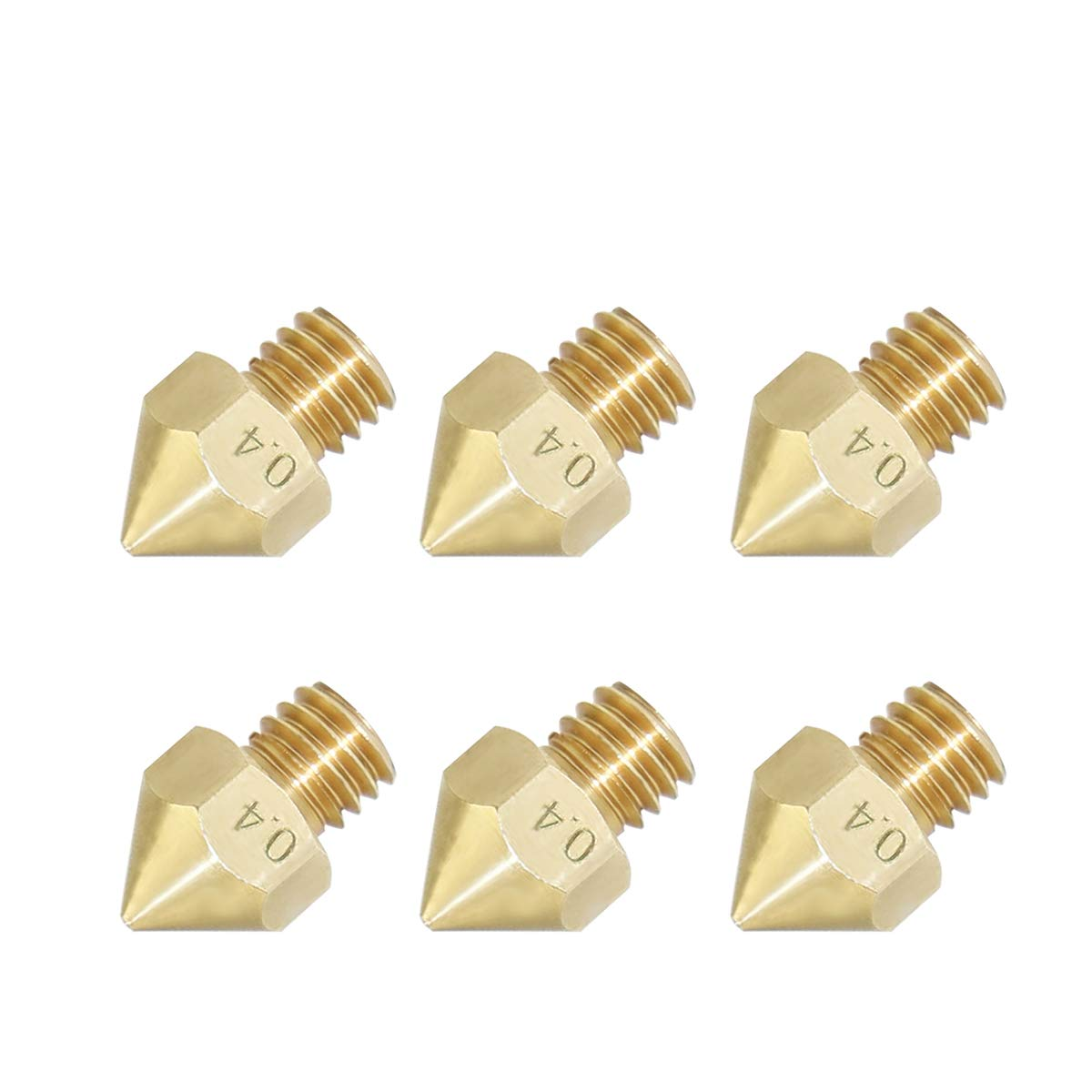 6Pcs Pack 3D Printer Extruders 0.4mm Nozzle 3D Printer Extruder Print Head for MK8 Makerbot 1.75mm (6 Pack) NAWINNER