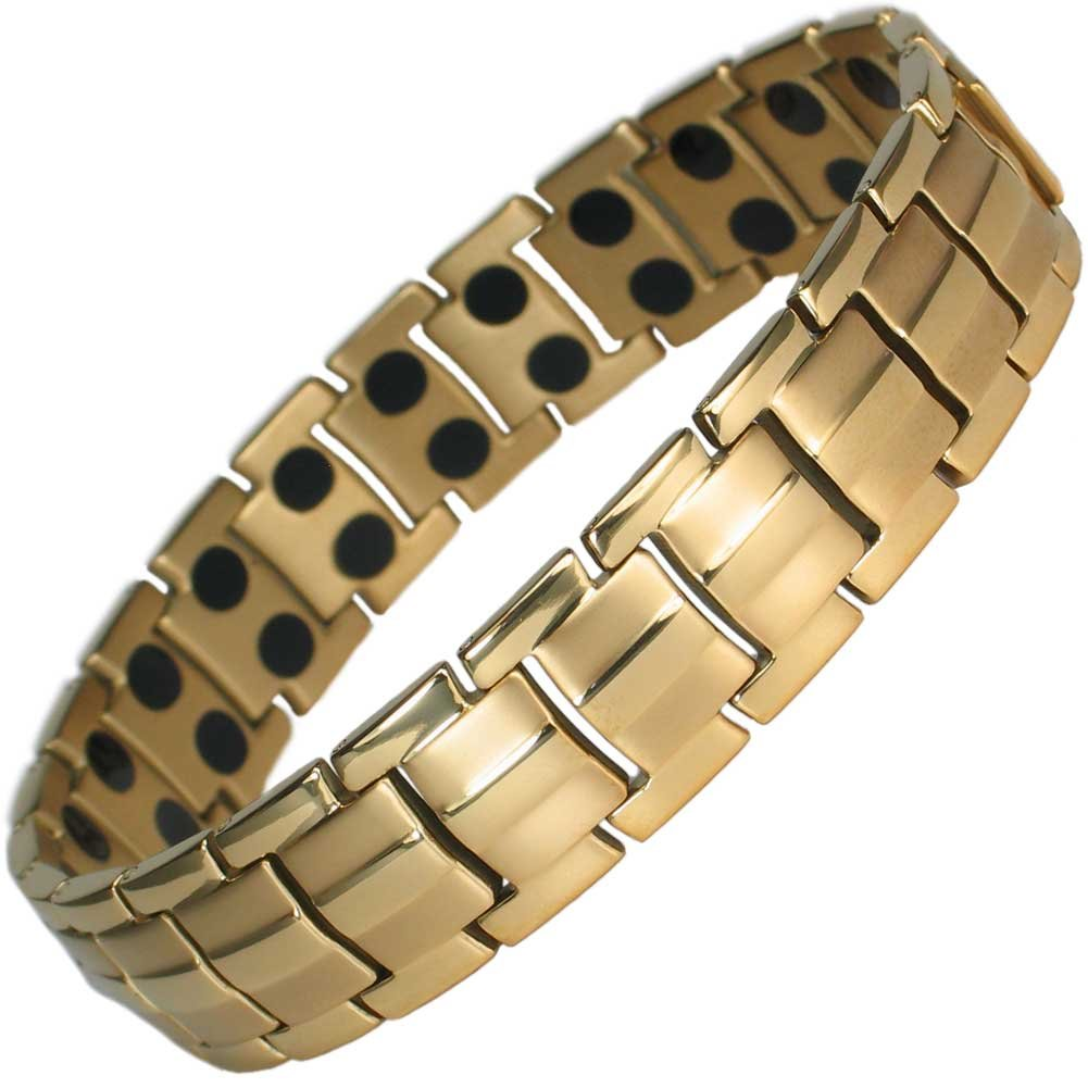 IonTopia Hermes Titanium Magnetic Therapy Bracelet Gold Plated with Free Links Removal Tool