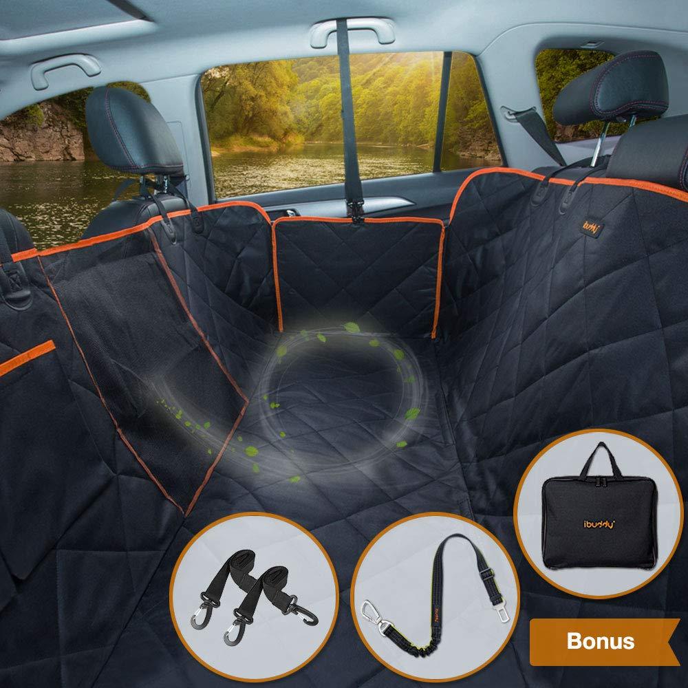 iBuddy Dog Car Seat Covers for Back Seat Cars/Trucks/SUV, Waterproof Dog Car Hammock Mesh Window Side Flaps, Durable Anti-Scratch Machine Washable Pet Car Seat Cover
