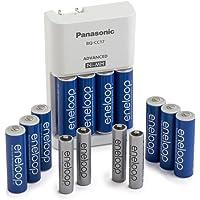 Panasonic K-KJ17MZ104A Eneloop -Cargador de baterías avanzadocon paquete de energía de pilas de colores 10AA y 4AAA