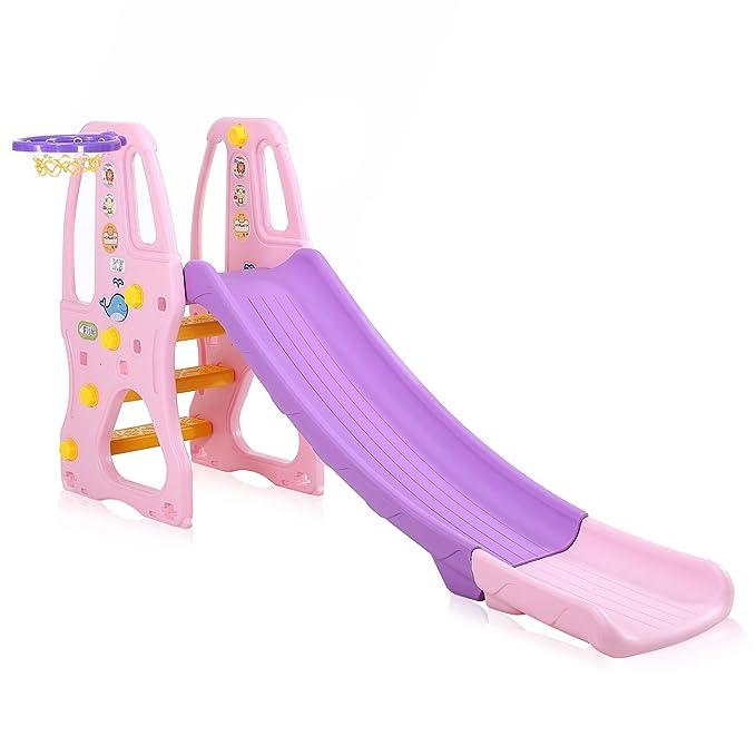 Baby Vivo Tobogán Parque para Infantil Niños Recto Diapositiva Interior y Aire Libre Juguetes Jardín en Púrpura/Rosado