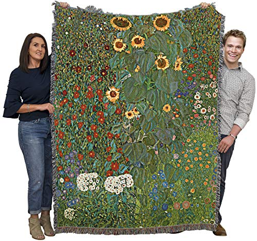 Pure Country Weavers | Farm Garden with Sunflowers Woven Tapestry Throw Blanket by Gustav Klimt with Fringe Cotton USA Cotton USA 72x54 from Pure Country Weavers