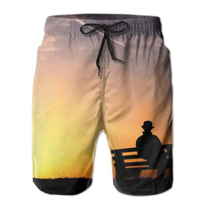 HFSST Loneliness Sunset Sitting Alone in A ChairHandsome Fashion Summer Cool Shorts Swimming Trunks Beachwear Beach Shorts