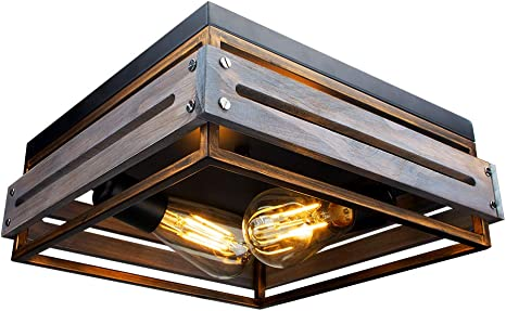 Farmhouse Ceiling Light 2 Lights Industrial Ceiling Light Farmhouse Light Fixtures Ceiling Vintage Rustic Lights Metal And Wood Square Lighting Fixture For Hallway Living Room Farmhouse Lighting Amazon Com