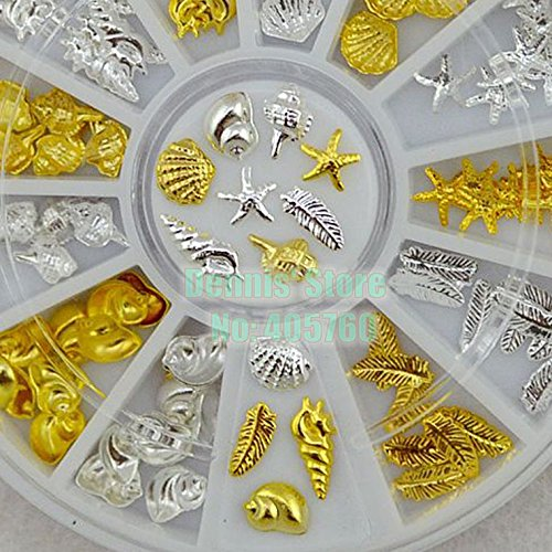 Kamas Hot Sale 120 Pcs/wheel Cute Ocean Life Shell Conch Feather Starfish Gold Silver Metal Nail Art Decoration