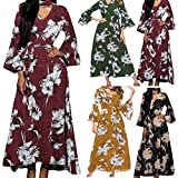 Floral Long Dresses Women's Trumpet Sleeve Print Waist Elastic Waist Polar Long Dress Evening Gowns Women Trumpet Sleeve Print Waist Elasticated Waist Polar Long Dress (S, Red)