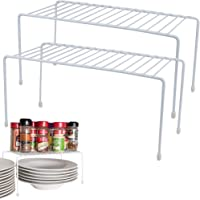 Evelots Kitchen Cabinet/Counter Shelf-Double Your Space-Sturdy Metal-Set of 2