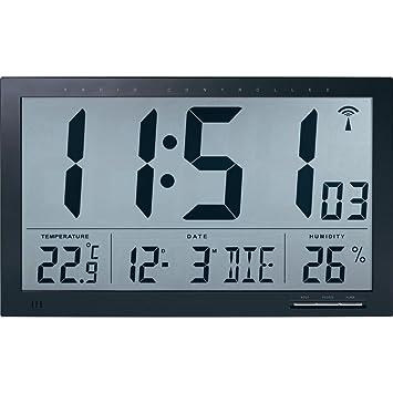TECHNIKUS - Reloj de pared digital con medidor de temperatura y humedad ambiente