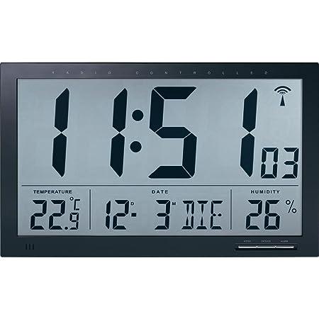 TECHNIKUS digitale Funk-Wanduhr Jumbo mit Raumklima-Anzeige (Temperatur + Luftfeuchtigkeit)