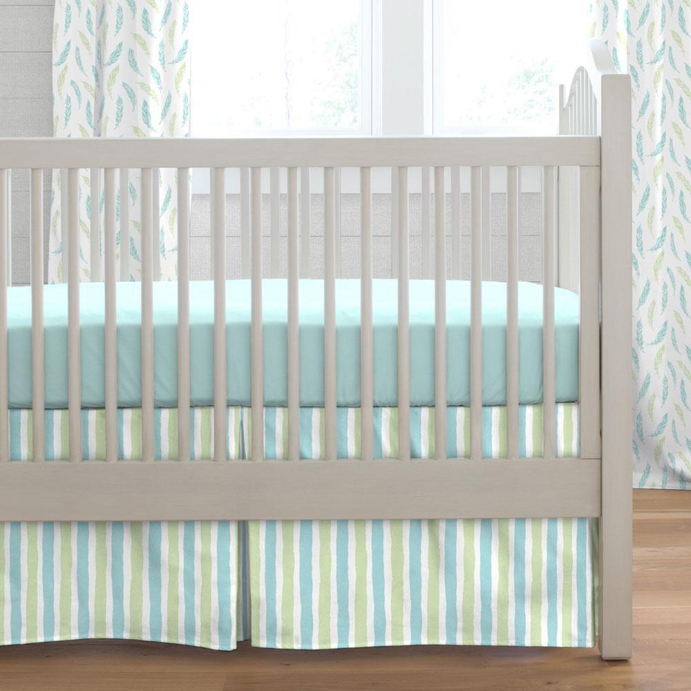 Carousel Designs Seafoam Aqua and Pastel Green Weathered Stripe Crib Skirt Box Pleat 20-Inch Length