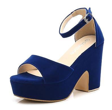 CAMSSOO Women's Solid Color Open Toe Ankle Strap High Heels Wedge Sandals Block Heel Plarform Shoes