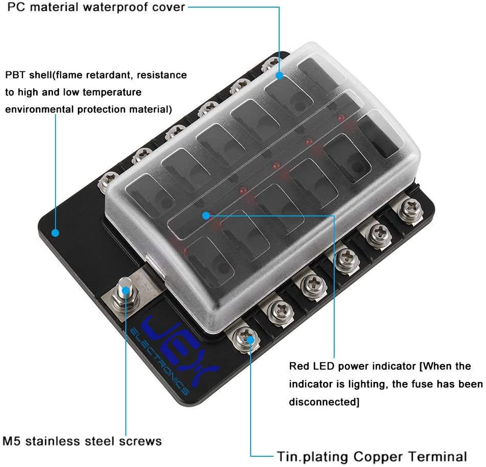 Jex Electronics 12-Way Fuse Box ATC ATO Blade Fuse Holder Power Block for Car RV Trailer Boat 12V