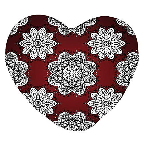 3D Printed Soft Short Plush Heart Shaped Decorative Pillowcase,Mandala Flowers Lacy Victorian Contours Romantic,Lovely Personalized Customization Fashion Pillow Case Set -