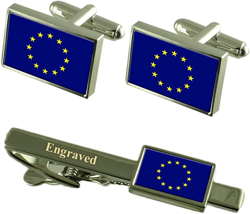 Select Gifts European Union Flag Cufflinks Engraved Tie Clip Matching Box Set