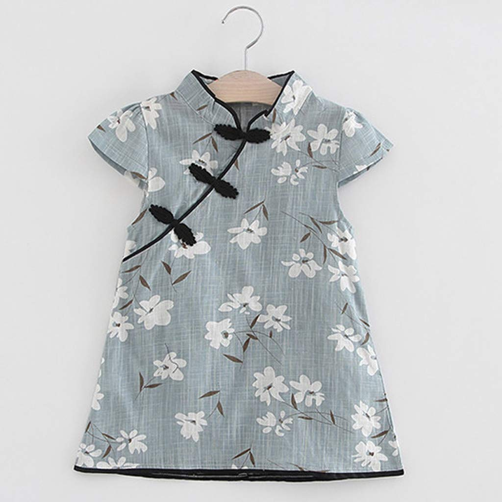PENATE Baby Girl Chinese Cheongsam Floral Dress Cotton Sleeveless Princess Skirt