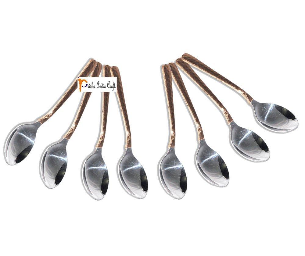8のセットPrishaインドCraft ®高品質ハンドメイドスチール銅お茶スプーン、Hammered Designed銅スプーン長5.50インチ、銅食器類accessories-クリスマスギフト   B01FJZGJ5U