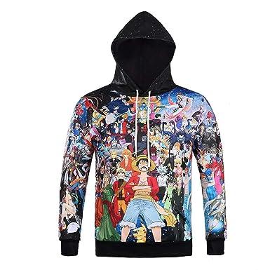 One Piece Sudadera con Capucha 3D Impresión Pullover Sudaderas De Tendencia Hoodie Sweatshirt de Mangas Largas Bolsillos Unisex Cosplay,Manga,Dibujos ...