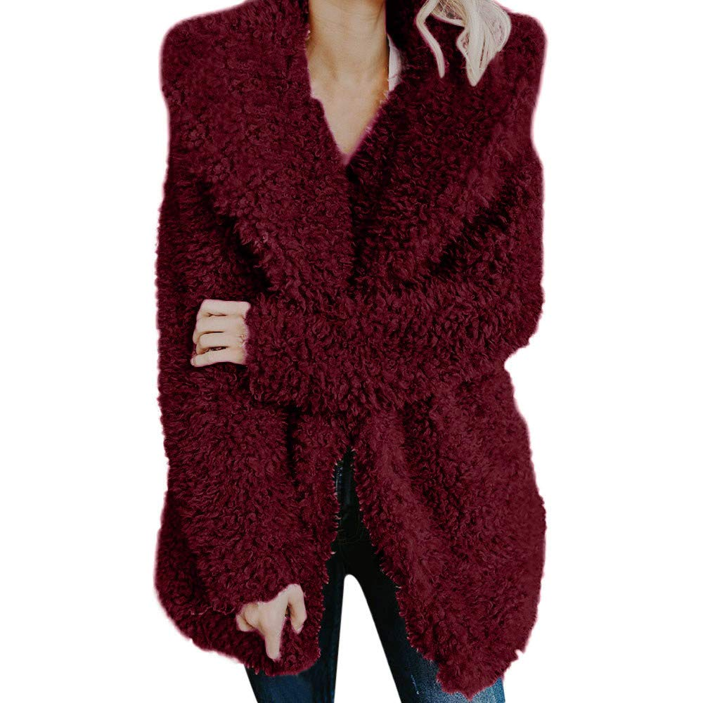 WOCACHI Womens Faux Coat Artificial Wool Warm Jacket Lapel Winter Outerwear WOCACHI-180909