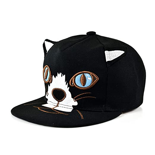 King Star Women Adjustable Cat Ear Flat Bill Hip Hop Snapback Baseball Cap  Black bace59a7153