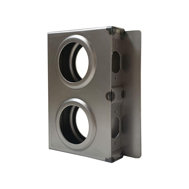 OASIS Gate Lock Box Double Hole 6-3/4'' x 4-3/8'' x 1-1/4'' Weldable Steel lockbox for Gate, Bubble Style Unpainted