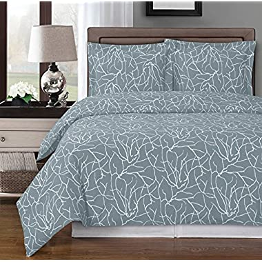 Gray and White Ema 3-piece King / Cal-king Duvet Cover Set 100 % Egyptian Cotton 300 TC