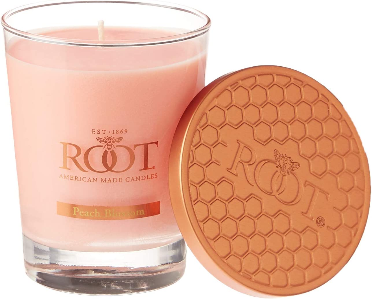 Root Candles Honeycomb Veriglass Scented Beeswax Blend Candle, Large, Peach Blossom