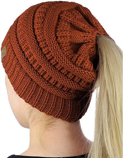 Craft Unisex Microfleece Soft Stretch Cold Weather Ponytail Beanie Hat,