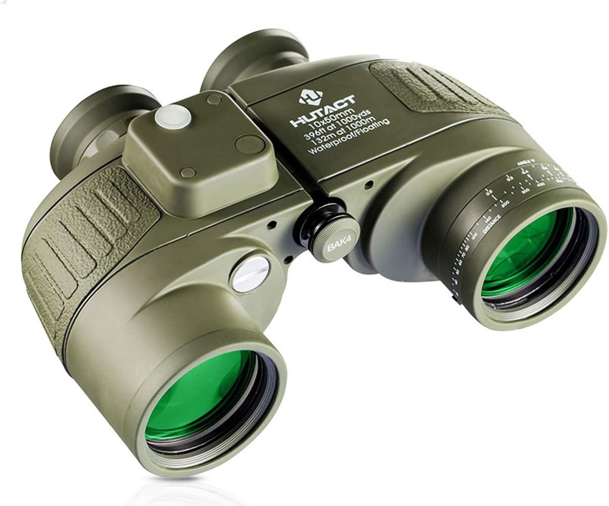 binoculares Zoom 10X, HD de alta ampliación de 10 * 42, lente FMC, a prueba de niebla e impermeable Excelente, con telémetro, localizador, brújula para observación de aves Caza Camping Senderismo