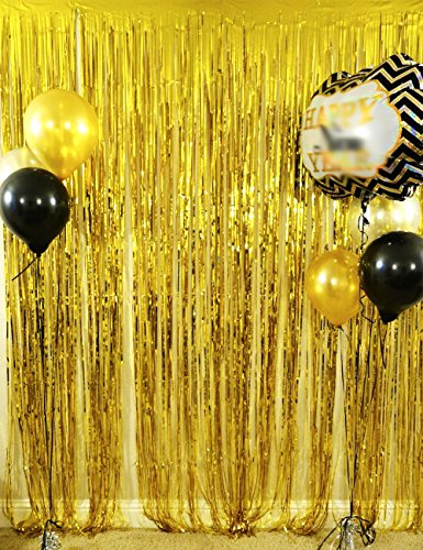 Langxun 3 ft x 8 ft Gold Foil Fringe Curtains | Photo Booth Background for Party, Prom, Birthday, Wedding, Event Decorations ( 2 Pack )