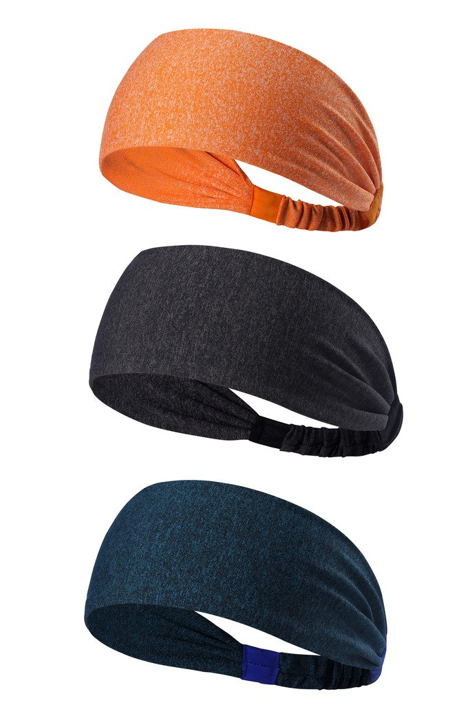 HYSENM 3 Pack Wide Training Headband Sweat Band Soft Elastic Slip Resistant Breathable Fitness Yoga Running for Men Women, A16-04 24X7cm