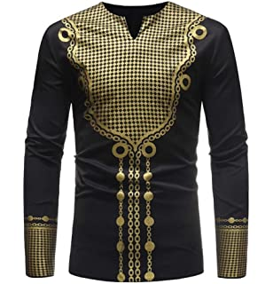 Etecredpow Mens Ink Printed Long Sleeve Button Down Classic Fit Shirts