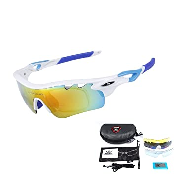 1d16b3f77a OBAOLAY Men Polarized Sports Sunglasses with 5 Interchangeable Lenses Women  Cycling Glasses for Fishing Hiking Golf