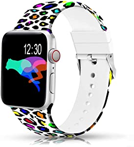 Sunnywoo Floral Bands Compatible with Apple Watch Band 44mm 42mm, Soft Silicone Fadeless Pattern Printed Replacement Sport Bands for iWacth Series 6 5 4 3 2 1, S/M M/L for Women/Men