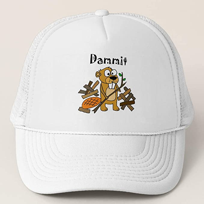 64eb28bf762 Zazzle Funny Beaver and Dam Cartoon White and White Adjustable Trucker Hat
