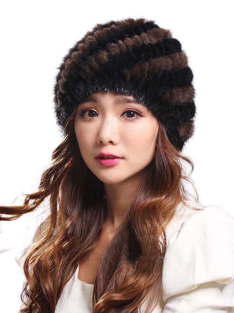 LITHER Womens Genuine Mink Fur Knitted Hat Winter Beanie Warm Cap(black brown)