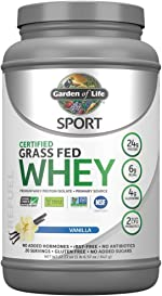 Garden of Life Sport Certified Grass Fed Clean Whey Protein Isolate,